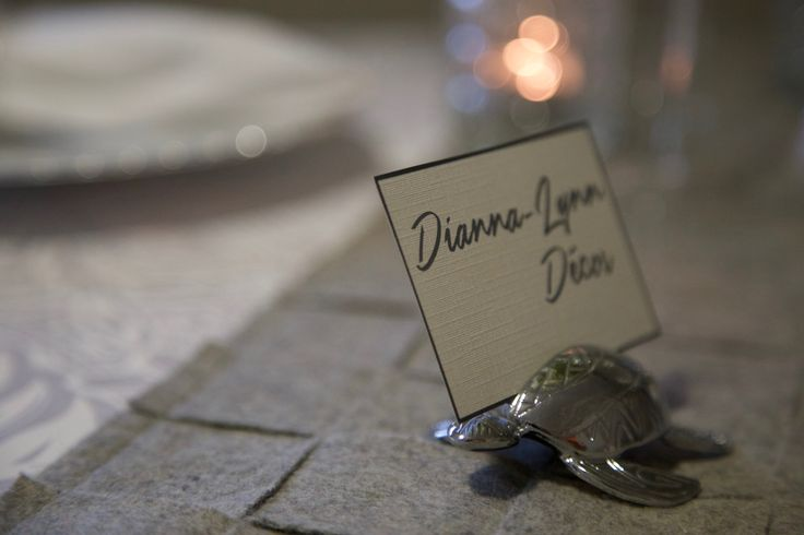 Sea turtle place card holder featuring tribal/Polynesian patterns