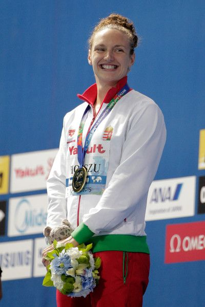 Gold medallist Katinka Hosszu of Hungary celebrates during the medal ceremony for the Women's 400m Individual Medley Final on day sixteen of the 16th FINA World Championships at the Kazan Arena on August 9, 2015 in Kazan, Russia.