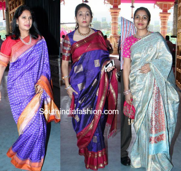 celebs-blue-pattu-sarees-keshav-reddy-wedding