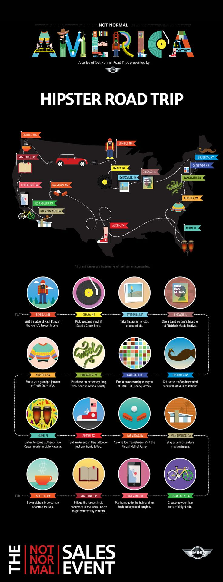 The Perfect Hipster Road Trip Infographic
