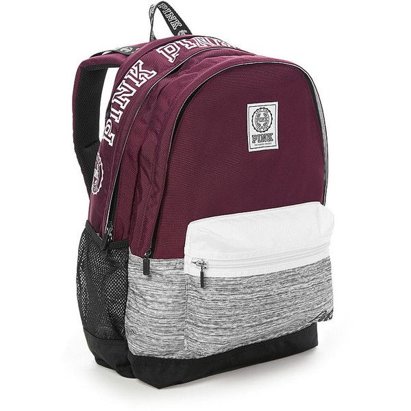 Campus Backpack PINK ❤ liked on Polyvore featuring bags, backpacks, pink bag, purple bags, victoria secret backpack, knapsack bag and backpack bags