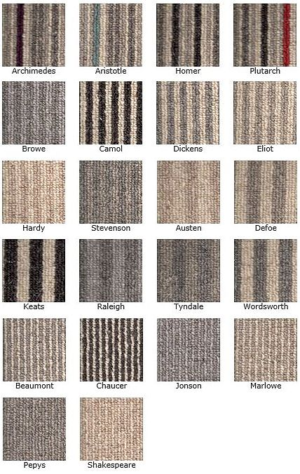 KINGSMEAD BOOK OF STRIPES 100% Wool Carpet in a range of stunning stripes (Only available in 4m width)