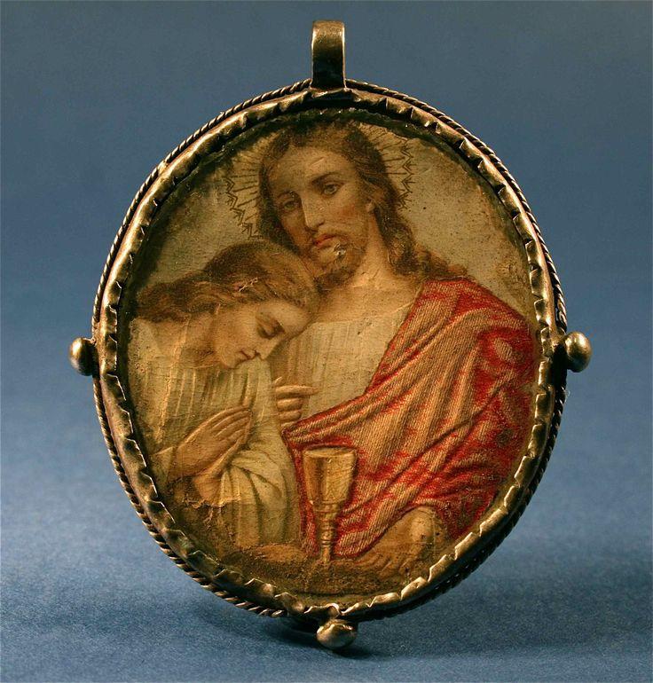 Antique Miniature Silver Framed Jesus Christ & Mary Portrait