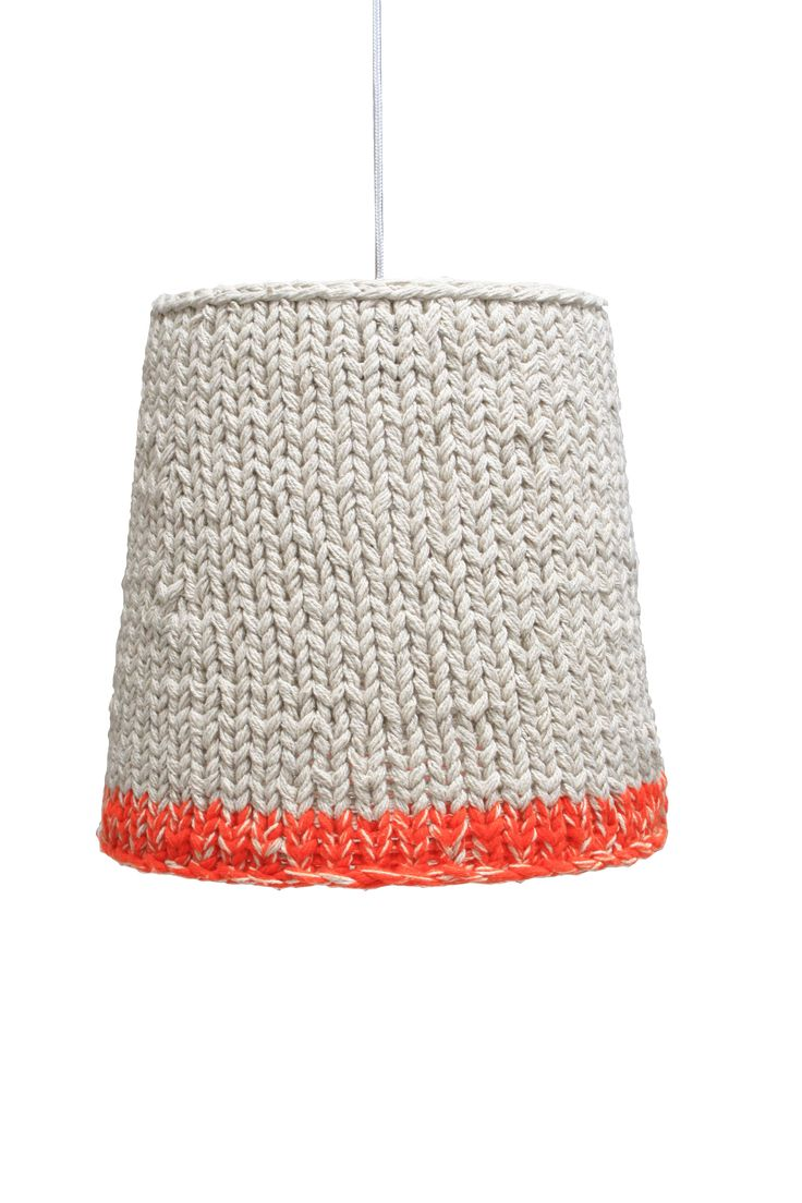 Orange and turquoise lamp shade - Knitted Orange Neon Could Do This Idea With My Old Lamp Shade And Add