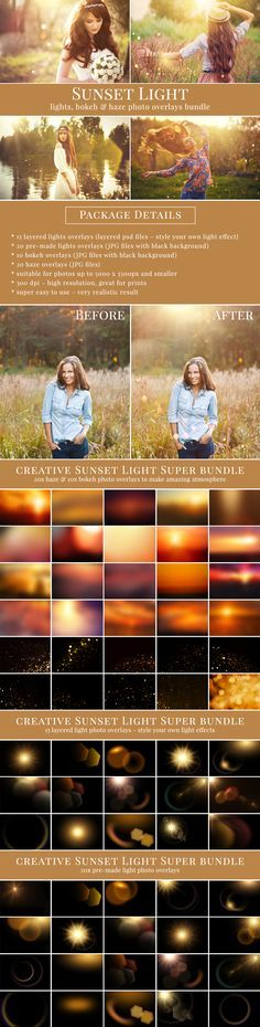 Sunset light photo overlays - layered lights, the only one on market. High quality, perfect professional results. Style your own sunset atmosphere with lights, bokeh & haze photo overlays. #brownleopard