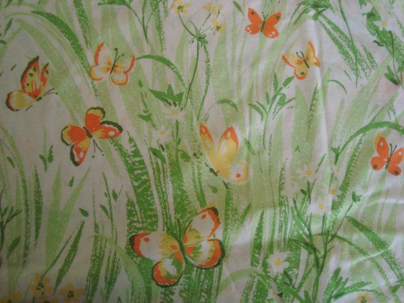 Full Fitted Sheet Green Ferns Orange Butterflies by mushroommary, $11.00