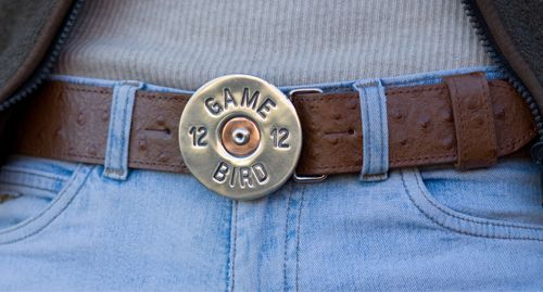 Detachable Game Bird buckle in solid pewter £45 on tan ostrich belt £75 - buckle also comes in solid brass.
