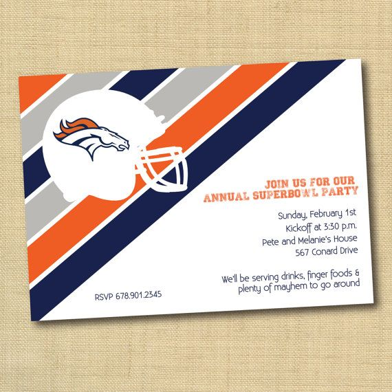 Denver Broncos Super bowl Party Invitation Bold Stripes on Etsy, $13.00