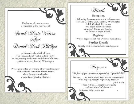 Printable Wedding Invitation Suite Elegant Wedding Invitation Black Invitation by TheDesignsEnchanted on Etsy