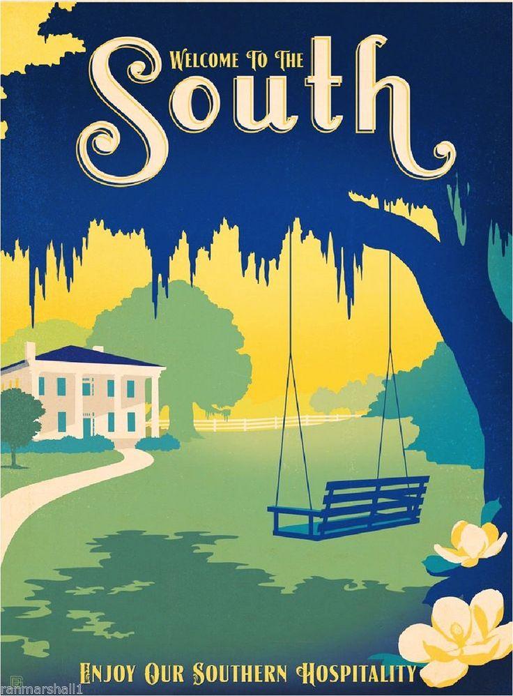 South Savannah Georgia United States America Travel Advertisement Art Poster  #Vintage