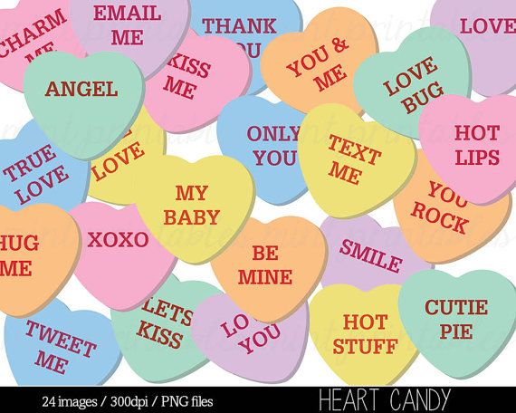 Heart Clipart Heart Candy Clip Art Sweethearts Candy Etsy In 2021 Clip Art Digital Clip Art Set Heart Candy