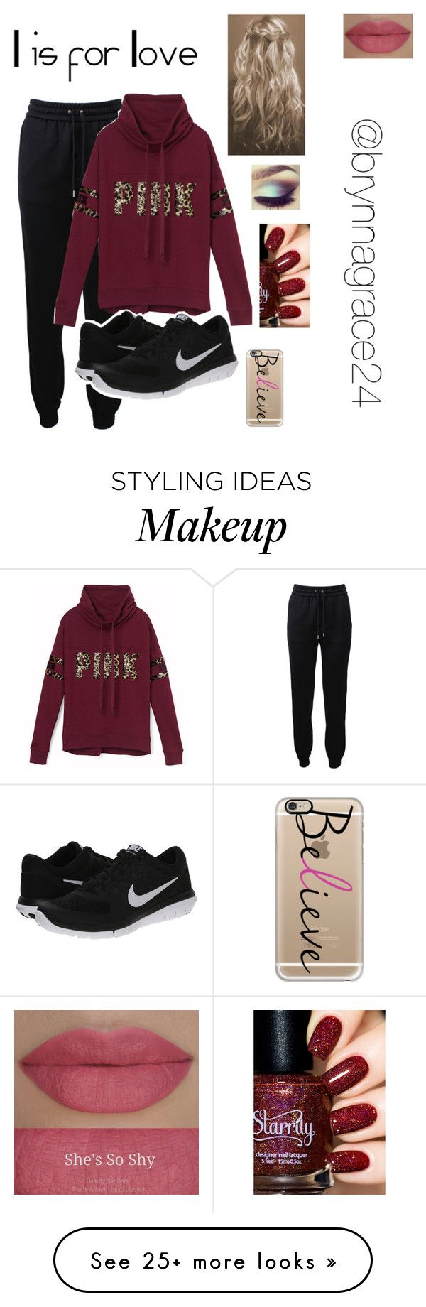 """l is for love"" by berkeleyscout on Polyvore featuring Barbara Bui, Victoria's Secret PINK, NIKE, She's So, Casetify and love"