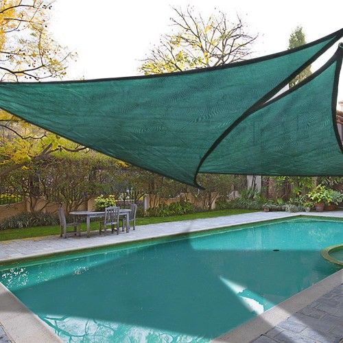 2x 16.5' Triangle Sun Shade Sail Patio Deck Beach Garden Yard Outdoor Canopy Cover UV Blocking Green | Jet.com