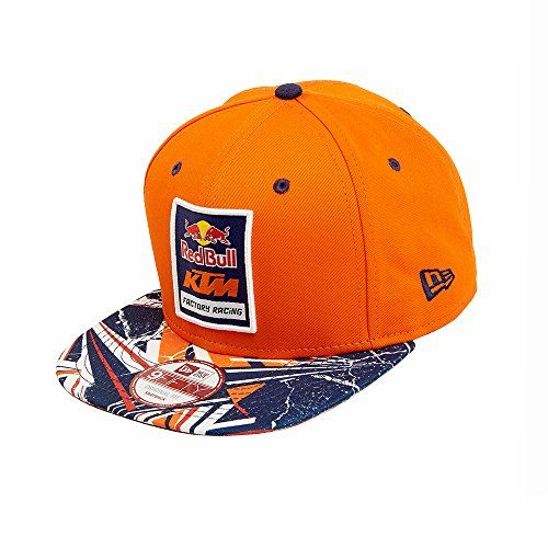 """Red Bull KTM Factory Racing Spikes Hat  New Era 9FIFTY Style  Snapback closure, one size fits most  Red Bull KTM Factory Racing brand patch on the front  Orange paneling with contrasting spikes patterned brim  Red Bull """"Gives You Wings"""" slogan embroidered on back above snapback"""