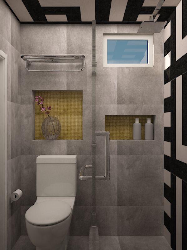 Baños De Microcemento:Propuesta de baño, gris y negro, detalles dorados
