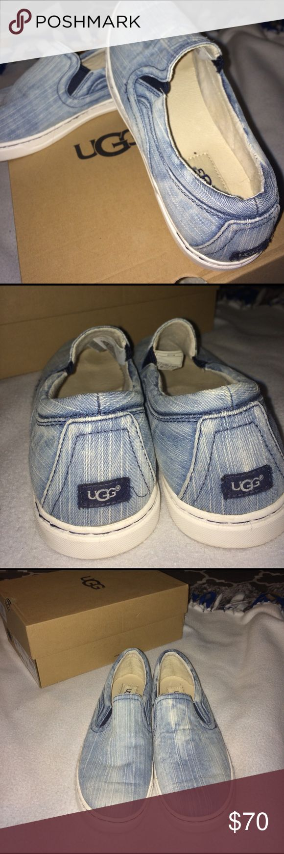 New in box ugg sneakers Washed denim color ugg sneakers. Brand new! I wore them around the house for a little but then decided I didn't need them. Very unique! I'm open to offers but please be respectful of the shoe and the price UGG Shoes Sneakers