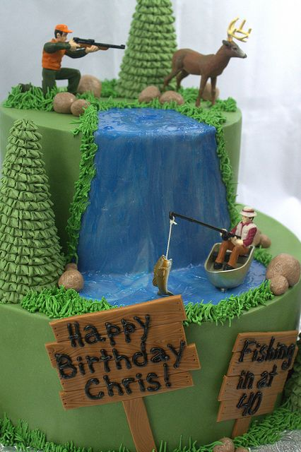 Hunting and Fishing Birthday Cake: ill see if I can't find little figures at Michaels or something too!