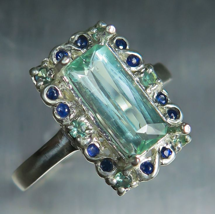 Natural Paraiba blue tourmaline & Alexandrite, sapphire 925 sterling silver ring