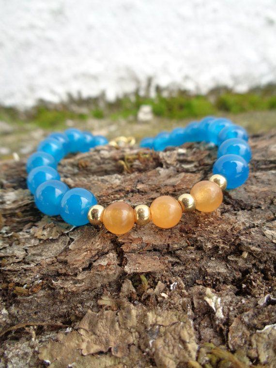 Tropical blue OOAK friendship bracelet / Bohemian bracelet / Summer bracelet/ jade beaded bracelet / semiprecious jewelry / Ethnic bracelet