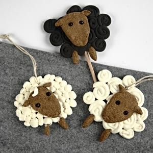Sheep made from Silk Clay and Wood Clay