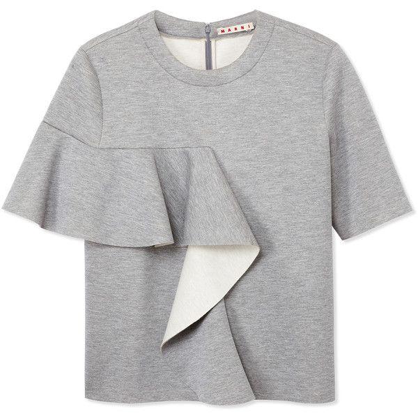 Marni Gray Ruffle Sweatshirt (42.780 RUB) ❤ liked on Polyvore featuring tops, hoodies, sweatshirts, grey, grey sweat shirt, gray sweatshirt, crewneck sweatshirt, short sleeve wrap top and short sleeve sweat shirt