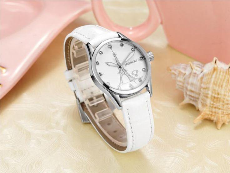 WISHDOIT 005 Fashion Women Quartz Watch Roman Numerals Flower Iron Tower Wrist Watch