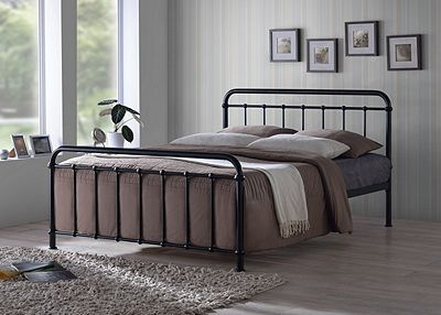 Miami Black Traditional Hospital Style Metal Bed Frame 5FT King