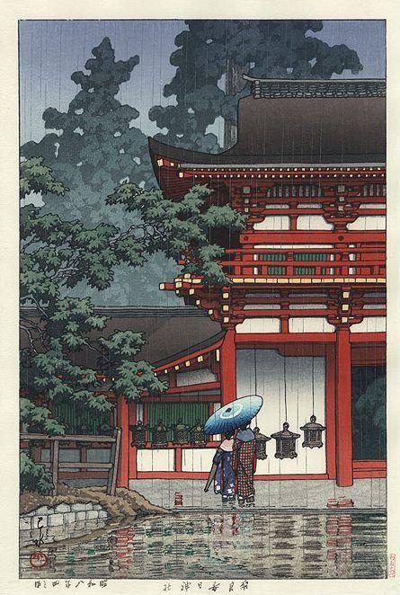 Hasui Kawase détail - Sanctuaire de Kasuga, Nara, 1933