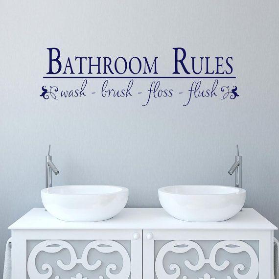 Bathroom Wall Decal   Bathroom Rules   Bathroom Sticker   Bath Wall Art    Bathroom Quotes