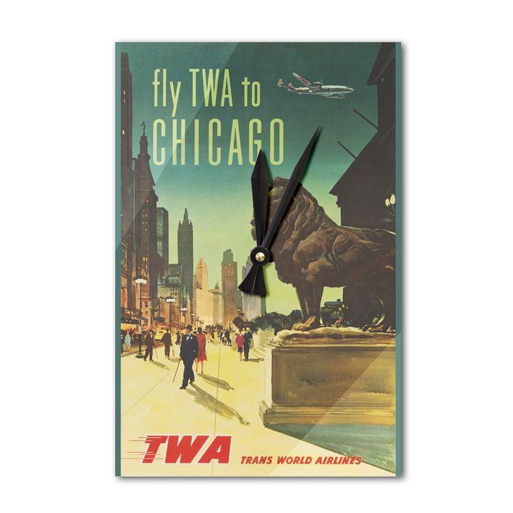 TWA - Chicago USA c. 1950 - Vintage Advertisement (Acrylic Wall Clock), Black (Plastic)