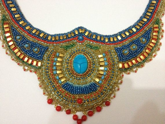 Egyptian Scarab Necklace. Egyptian jewelry -Egyptian Handmade Bead Embroidered Necklace, via Etsy