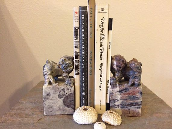 $135 - Vintage STONE Bookends FOO DOGS Hand Carved Statues, Foo Dog Pair Mother with Pups Cubs, Antique Bookends Chinese Guardian Lions Asian Decor