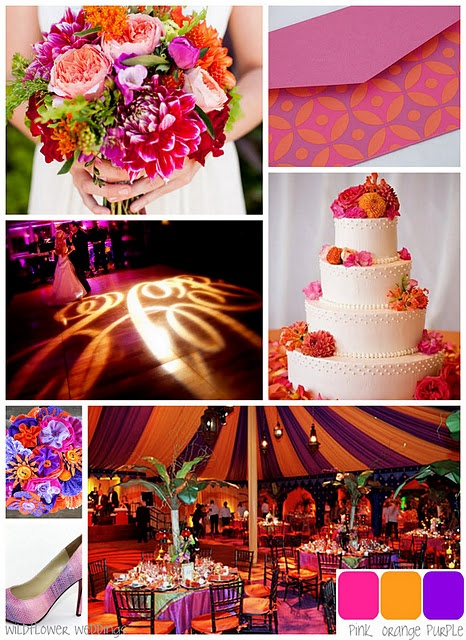 pink, orange, and purple wedding colors