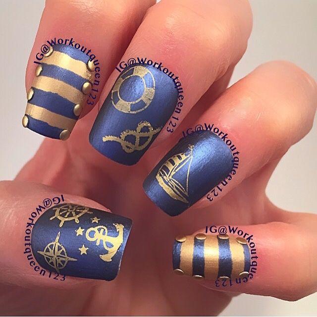 Nautical  polishes used OPI 50 years of style, Into the night, mundodeunas Gold-17, moyoulondon sailor-1 MoYou London