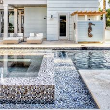 transitional pool by Beach Chic Design