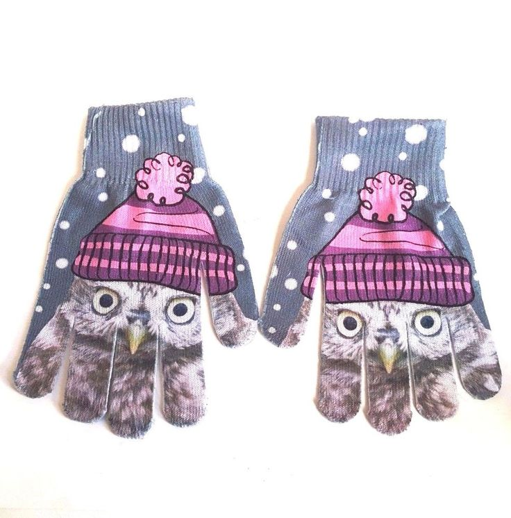 Owl Gloves Mittens Girls Womens Knit Gray White Polka Dot Pink #Unbranded #WinterGloves