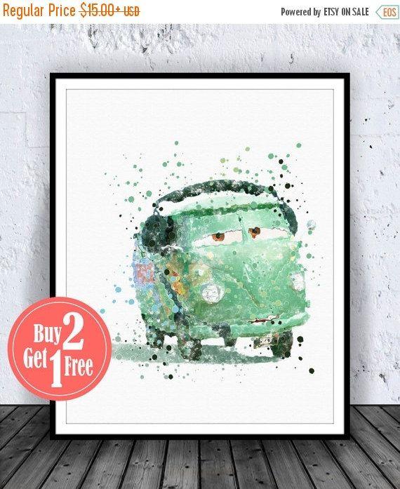 BIG SALE: Disney Cars Fillmore Disney Cars Art Print by CarmaZoe