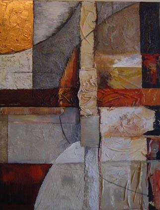 Pintura abstracta realizada con técnica mixta sobre lienzo. F. Maestro ha utilizado diversos materiales como ,tela,carton,yesos,etc ..para realizar la base de este cuadro que despues ha pintado con pinturas al agua .  Se envia totalmente montado .El plazo de entrega aproximado es de 15 días. Originalidad y Calidad.