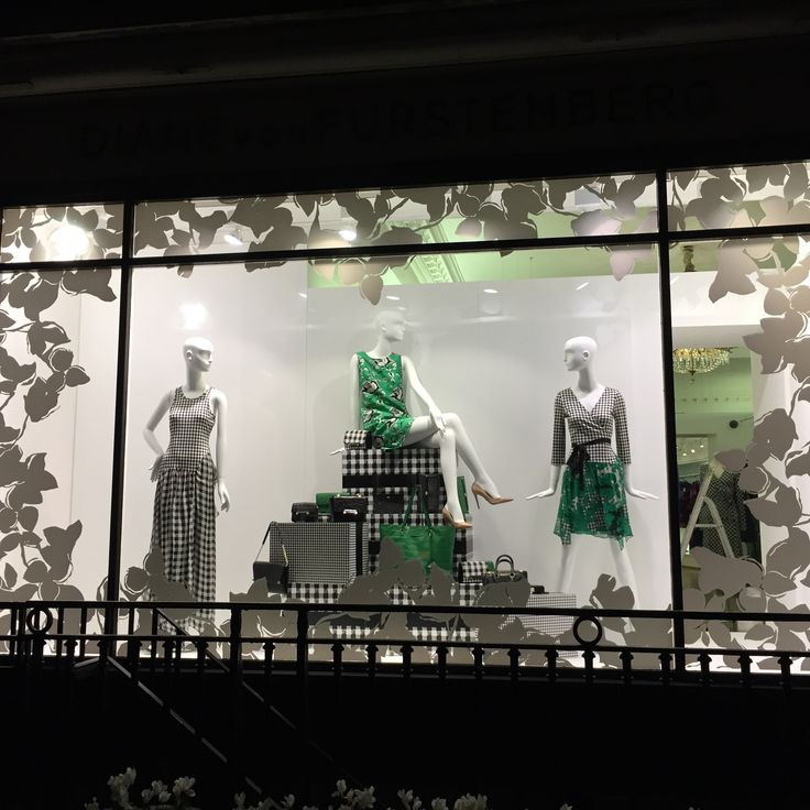 Gingham window display for DVF by Hello Flamingo
