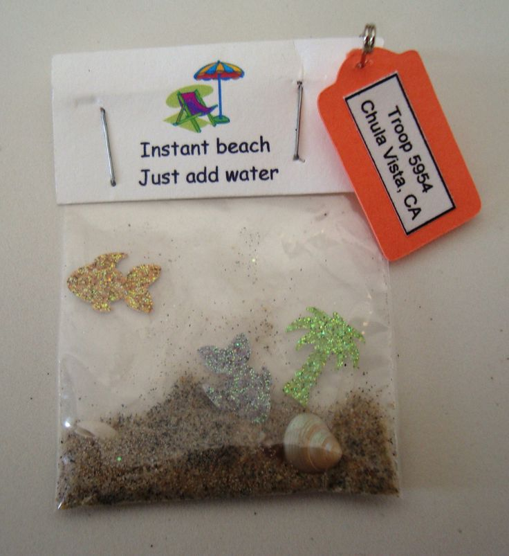 Instant beach GS swap - small fish and palm tree glitter paper punches, small shells, sand.