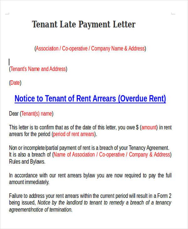 tenant late payment letter   Mathews St    Lettering, Sample