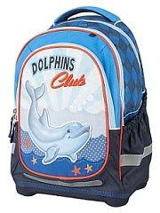 Рюкзак супер лёгкий Дельфины 2 Target.  Рюкзак имеет специальную прочную форму пригодную для учеников начальных классов. Рюкзак очень легкий и изготовлены из особо прочного материалы. Удобная спинка для позвоночника которая может быть скорректирована под рост ребенка. Мягкие плечевые ремни имеют вентиляционные отверстия. Рюкзак который растет вместе с ребенком это система которая позволяет увеличить скобки и адаптировать рюкзак по росту ребёнка. Настройка М при росте от 110 до 125 см размер…