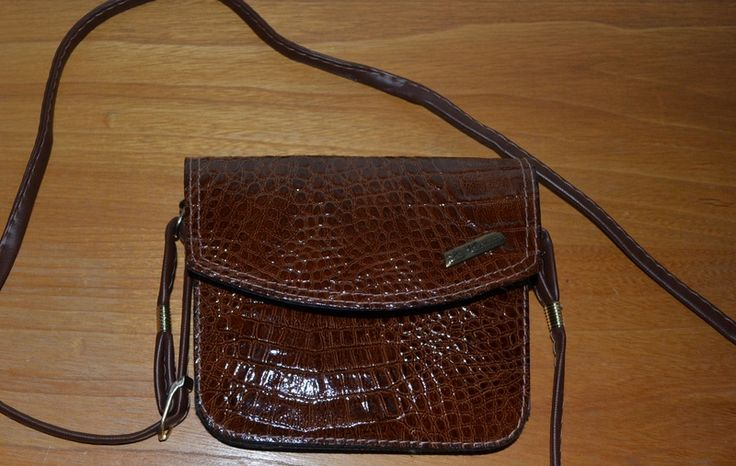 vintage 80's Kroko Lack Mini Bag Handtasche Braun von HappyVintage auf DaWanda.com