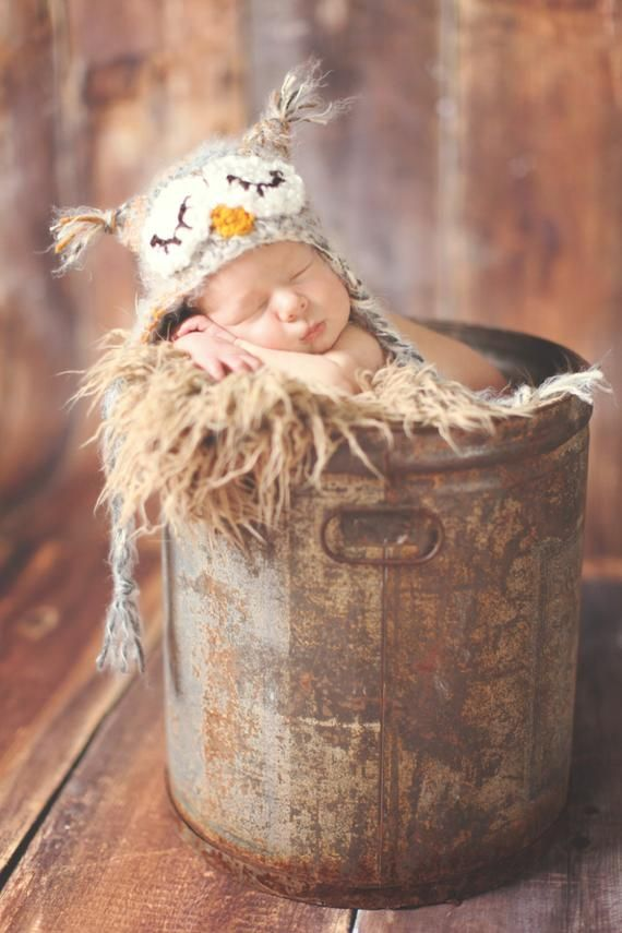 Sleepy Baby Owl Photo Prop Hat or Halloween-Crochet Costume in your choice of …   – Products