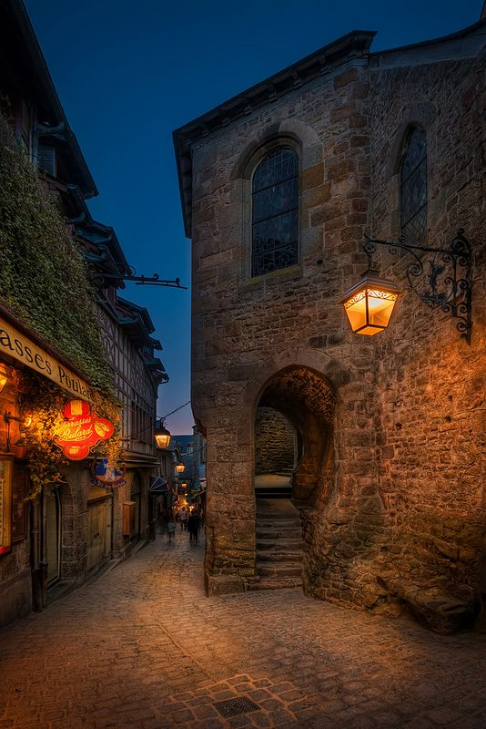 Street in Mont Saint Michel, France