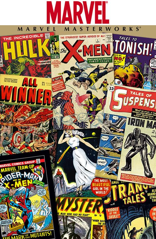 MARVEL MASTERWORKS reprint golden age and silver age Marvel Comics and Atlas Comics from greats like Jack Kirby, Stan Lee, and others in beautiful, glossy hard-cover collections. Relive the early days of the X-Men, Iron Man, Captain America, and other timeless superheroes, or even early pulp magazines like Tales to Astonish, Strange Tales, or Journey Into Mystery. Buy one of these beauties for your favorite comic book geek (even if it's you).