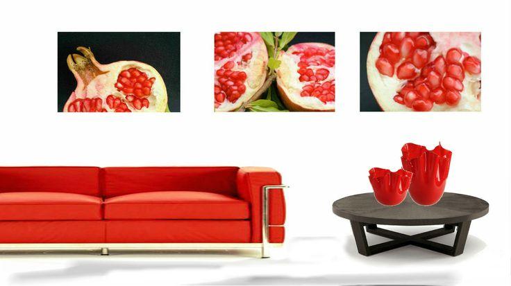Fotografia, rosso, fine art, arte, decorazioni, foto frutta, melograno, rosso e nero, design casa, oggettistica casa,arredamento,decorazione murale di ItalianFoodAndStyle su Etsy