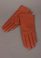 Rust coloured leather gloves