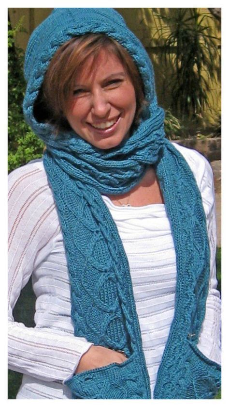 Stylish Hooded Scarf Free Knitting Pattern Knitting Hooded Scarf