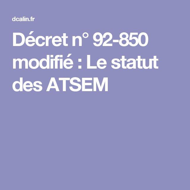 Décret n° 92-850 modifié : Le statut des ATSEM